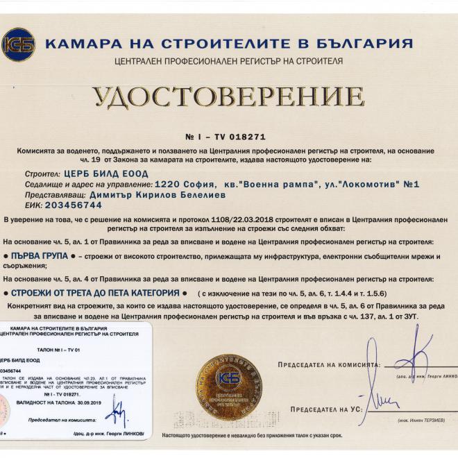 Удостоверение КСБ гр. 1-1